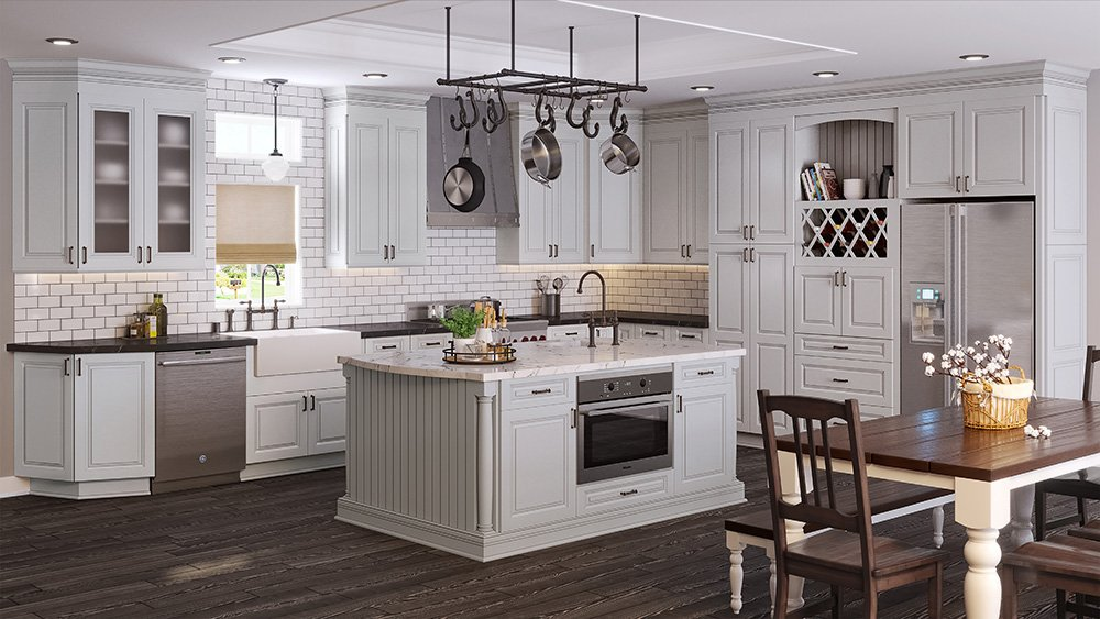 Tahoe Light Gray RTA (Ready to Assemble) Kitchen Cabinets Online